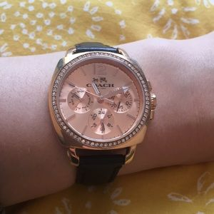 Rose Gold Black Leather Strap Coach Watch